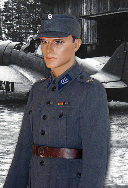0203f31e247 A senior NCO of the Finnish Air Force at a forward base. He is wearing the   flight tunic